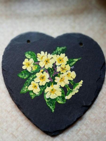 Joanne Campbell 'Wild Primroses on slate'