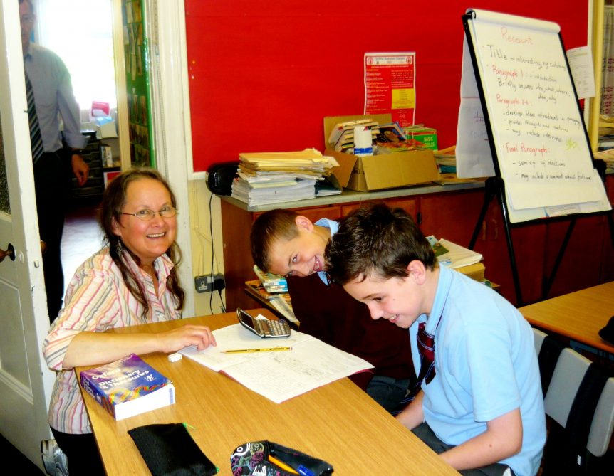 Poet and Facilitator Diane Jardel with pupils from Knocknagor Primary School, Trillick