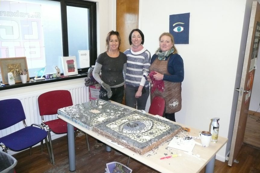 L-R Project Manager, Gina Gallagher, Landmarks Coordinator, Clare McComish and Artist and Facilitator Brenda Graham