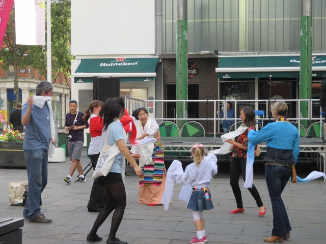 Are you coming to the party? Revellers enjoying the Tibetan dance workshop on Culture Night