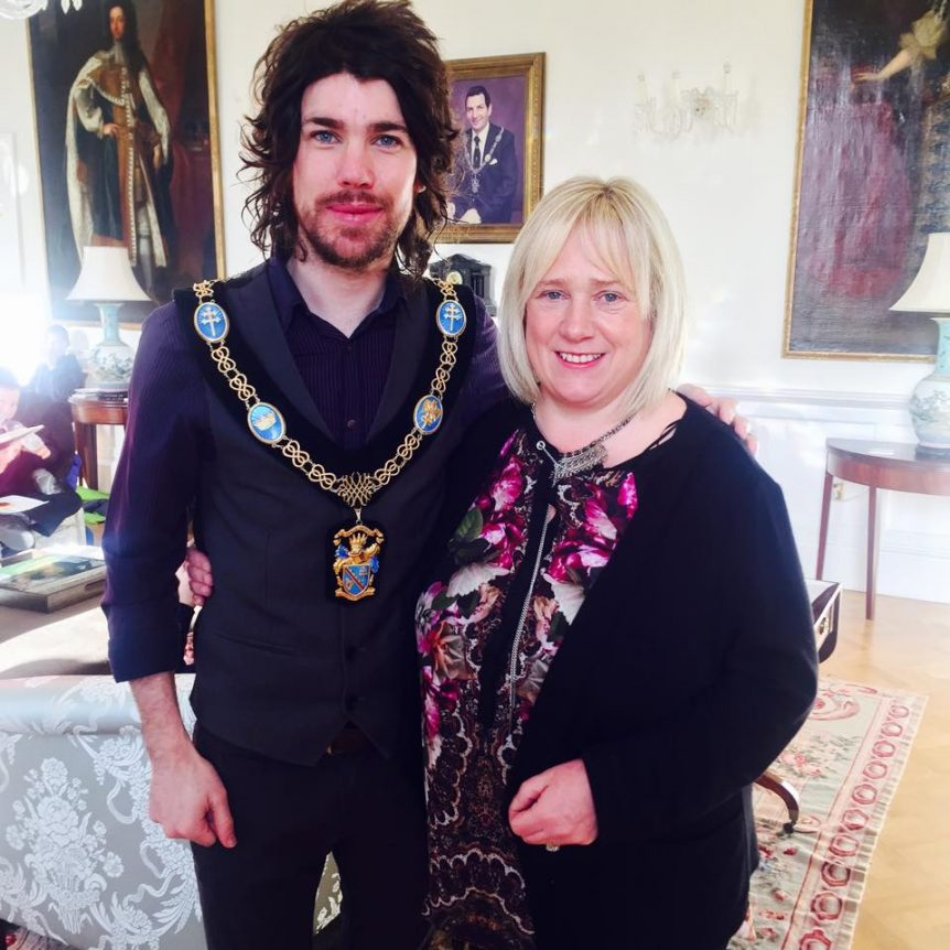 Lord Mayor of Armagh City, Banbridge and Craigavon Councillor Garath Keating with artist facilitator, Martelle McPartland