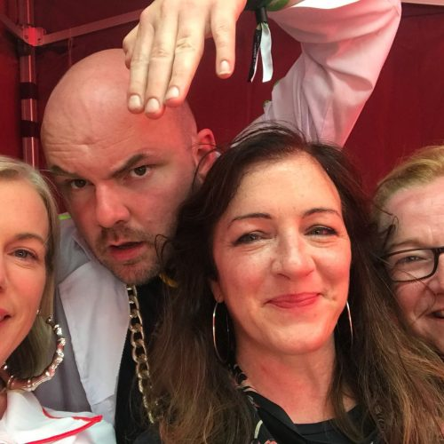 Hip Hop Nurses Eileen Connolly Michaela McDaid and Rory McSwiggan playing Dr Hip and Eileen WalshHop at Body and Soul Festival 2018